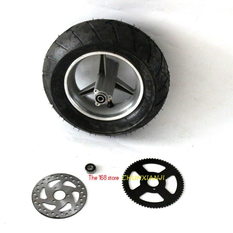 Roues arrière de pneu tubeless avec pignon arrière de disque de frein pour 47cc/49cc 2 stoke Mini vélo de poche 90/65-6.5 roue & dis