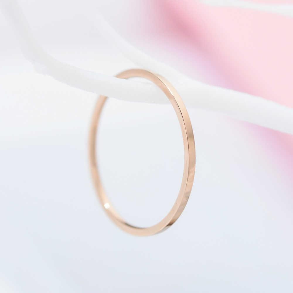 ZMZY รอบแหวนผู้หญิงสแตนเลสสตีลแหวนเรียบง่ายแฟชั่นเครื่องประดับขายส่ง bijoux 1 มม.