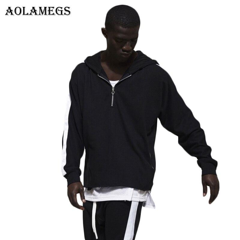 Aolamegs Hoodies Men Patchwork Half Zipper Striped Hood Pullover High Street Fashion Hip Hop Streetwear Casual Hoodie Autumn