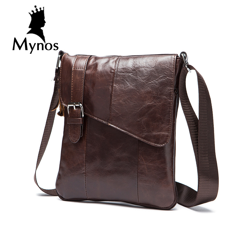 ФОТО MYNOS New Arrival Cow Leather Men Bag Business Leather Big Capacity Crosbody Bag For Men Genuine Leather Bag Men Tote Handbags