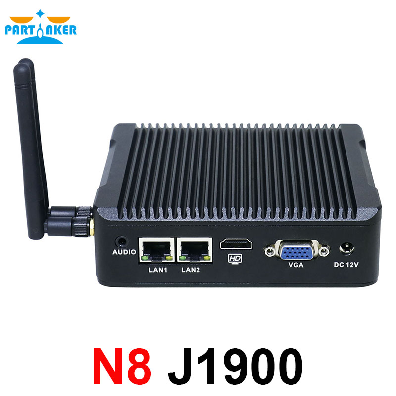Partaker Mini Pc 2 Lan Port Intel Quad Core J1900 CPU 2.0GHz Fanless Computer For Windows 7 8