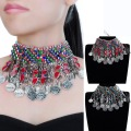 Vintage Ethnic Silver Chain Choker Statement Pendant Bib Necklace Jewelry