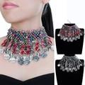 Vintage Ethnic Silver Chain Choker Statement Pendant Bib Necklace Jewelry