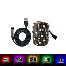 DC 5V USB LED Strip 5050 No Waterproof RGB Light Flexible 50CM 1M 2M add 3 17Key Remote For TV Background Lighting