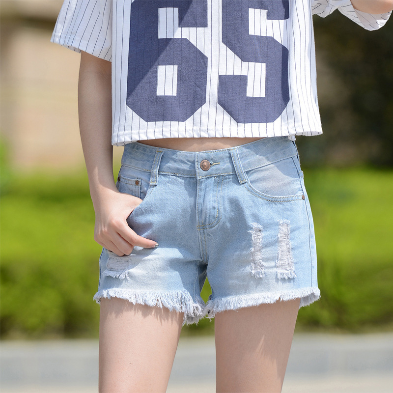 2016 new Korean female hole jeans thin summer loose light blue denim shorts Retro Tassel ladies jeans A2288