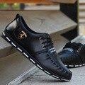 Los Hombres de la primavera Zapatos 2017 de La Moda de LA PU Zapatos Casuales Para Mans Bajo Lace Up Casual Oxfords Pisos de Lona Negro de Zapatos de Conducción Zapatos Hombre