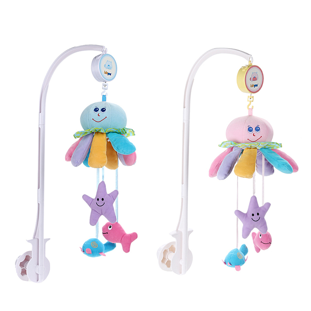 Baby Toys White Baby Crib Mobile Rattles Set Octopus Bed Bell Music Box Infant Developmental Rattle Toy