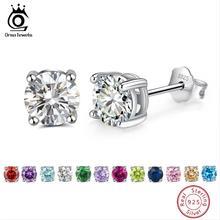 ORSA JEWELS 925 Sterling Silver Birthstone Earrings For Women AAA Cubic Zircon 14 Colors Stud Earring Fine Jewelry OSE84