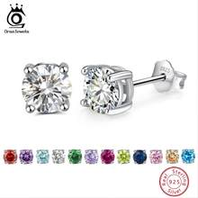 ORSA JEWELS 925 Sterling Silver Birthstone ต่างหู AAA Cubic Zircon 14 สีต่างหู Fine Silver (China)