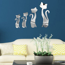 DIY 4 Pieces / Pack Cute Cats Pattern Home Decor Wall Stickers 3D Mirror Acrylic Home Decoration Wall Sticker Bed Room VBG67 P40