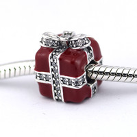 Sparkling Surprise Beads for Jewelry Making 925 Sterling Silver Red Enamel & Clear CZ Charms Fits Pandora Bracelets Berloque