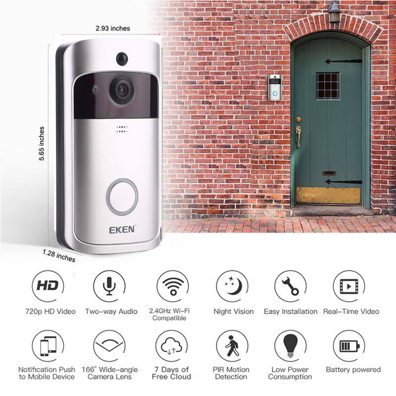 Image 2 - EKEN V5 Smart WiFi Video Doorbell Camera Visual Intercom With Chime Night vision IP Door Bell Wireless Home Security Camera-in Doorbell from Security & Protection