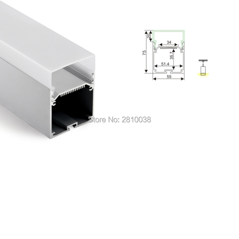 20X 1M Sets/Lot 55x75 large size led aluminium extrusion housing and new arrival aluminum U channel for suspending lamps