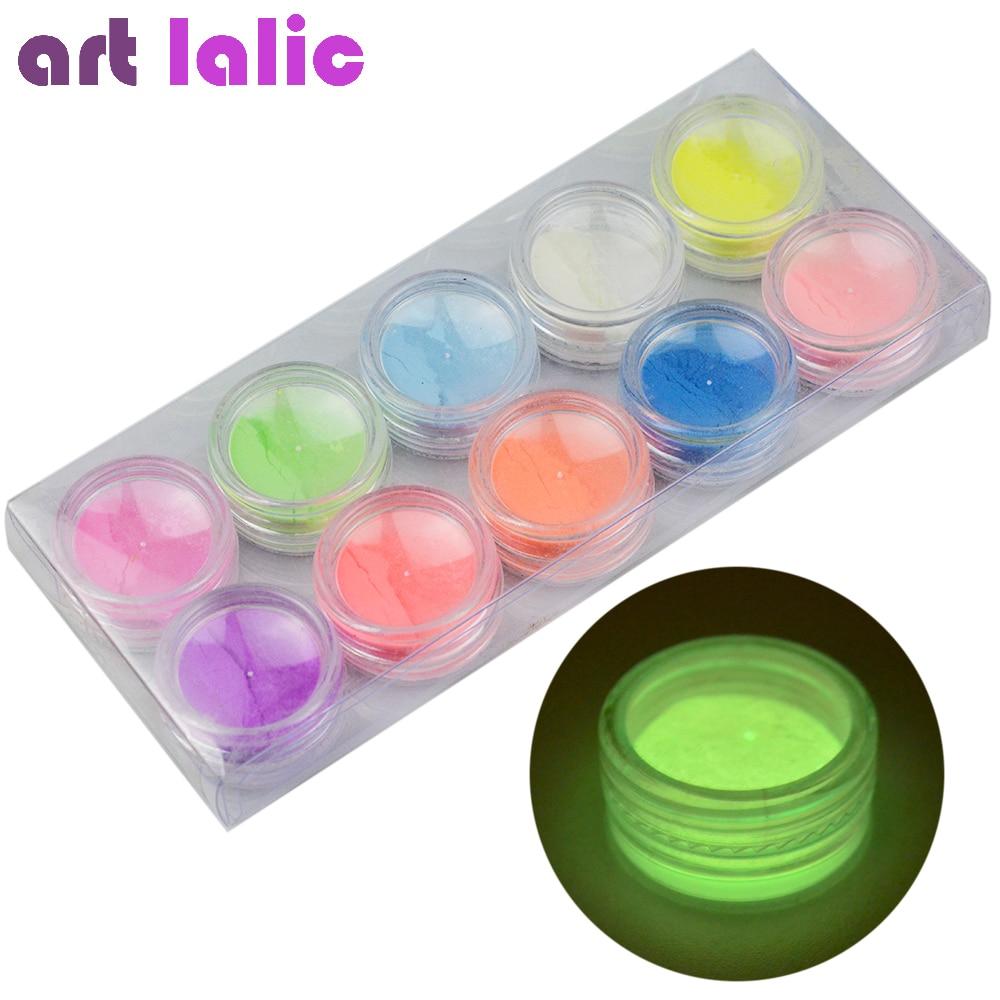 все цены на 10pcs Glow in the Dark Neon Phosphor Powder Nail Art Glitter Powder Colors Dust Luminous Pigment Fluorescent Nail Glitters онлайн