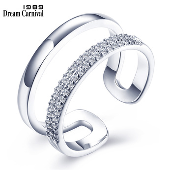 DreamCarnival 1989 Open Ends Double Lines Hollow Rhodium Color Gift Wholesale Joyas Anillos Mujer Bijoux Zirconia Ring SJ25000