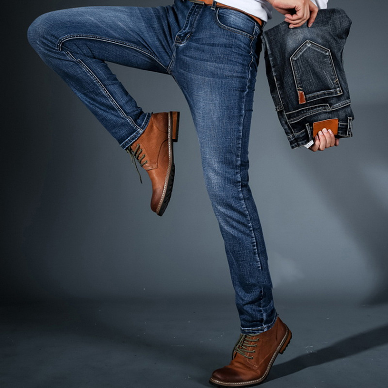 Calofe Autumn Winter Classic Trousers Denim Pants Male New Men's Fashion Jeans Business Casual Stretch Slim Jeans
