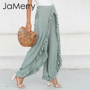 Image 4 - JaMerry 2019 vintage flare ruffle pants women Irregular high waist solid causal fashion pants Retro wide leg female trousers