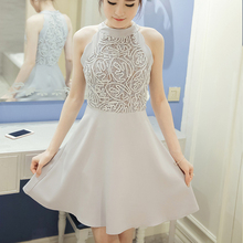White Lace Dress 2018 fall winter Women Hollow Out Sleeveless Sexy Bodycon Dress Elegant Skinny Floral Pattern Lace Dresses 903C sweet white hollow out floral lace anklet for women