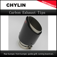 Inlet 63mm Outlet 101mm 1 Piece Matte Carbon Exhaust Tip Stainless Steel Muffler Tips Automobile Akrapovic