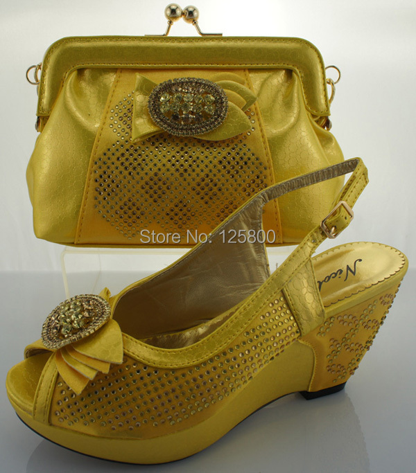 Ladies Fashion Dress Shoes With Matching Evening Bag In GREEN LILAC YELLOW ROYAL BLUE. Wedges ...