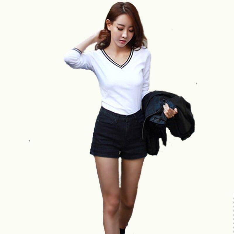 Song Li fashion wardrobe camisetas mujer v neck t shirt women tops t-shirt  white 2015 fashion casual tee shirt femme long sleeve korean fashion clothing