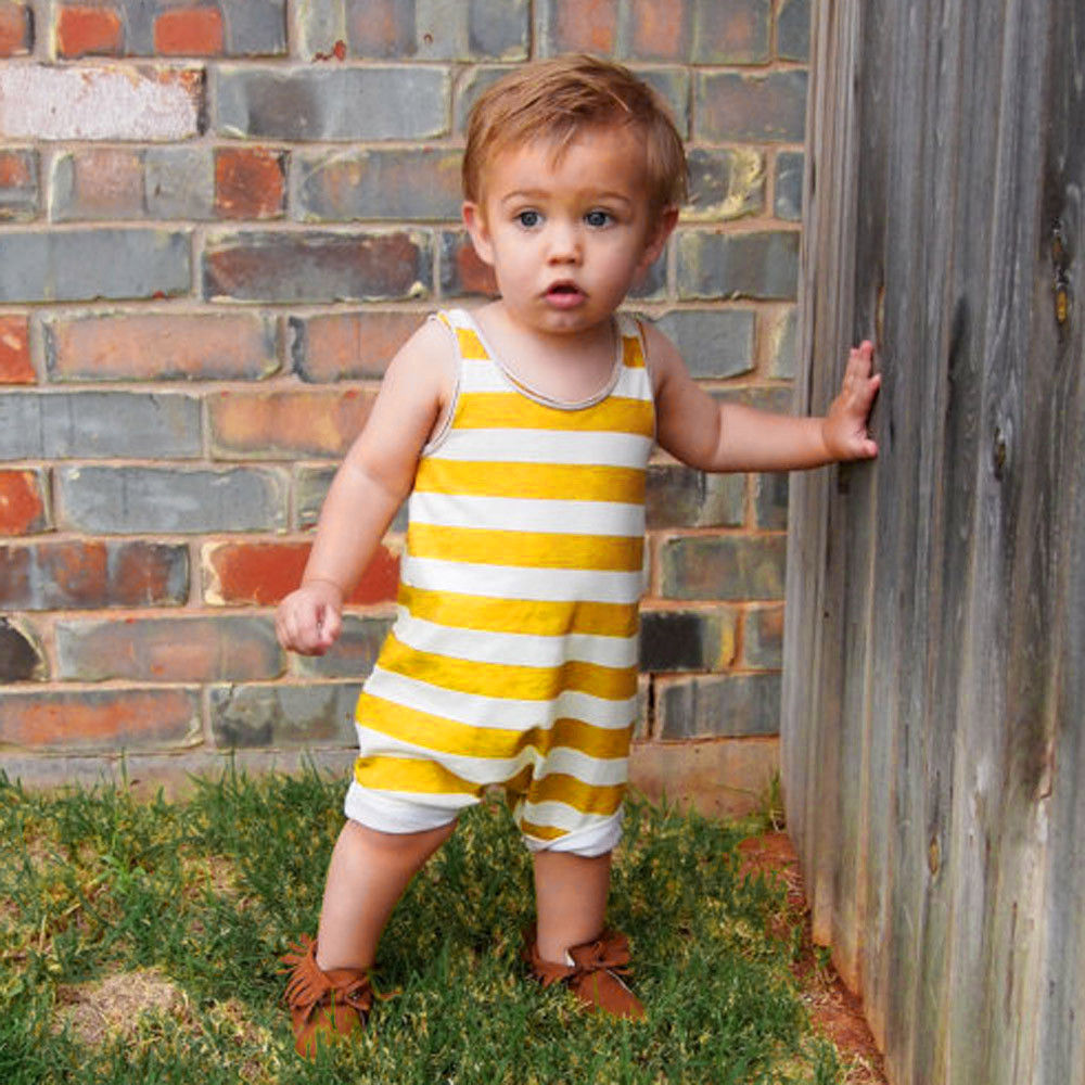 Toddler Baby Boys Girls Striped Sleeveless   Romper   Jumpsuit Outfits Clothes Yellow White Striped Sleeveless Body   Rompers   Cool
