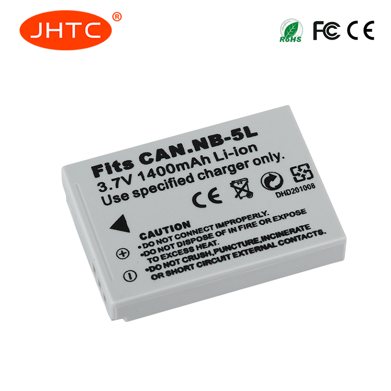JHTC 1Pc 1400mAh Camera Spare Battery NB-5L NB 5L For Canon SX200is SX210IS SX220HS SX230HS CB-2LXE Shot S100 S110 SD950 SD
