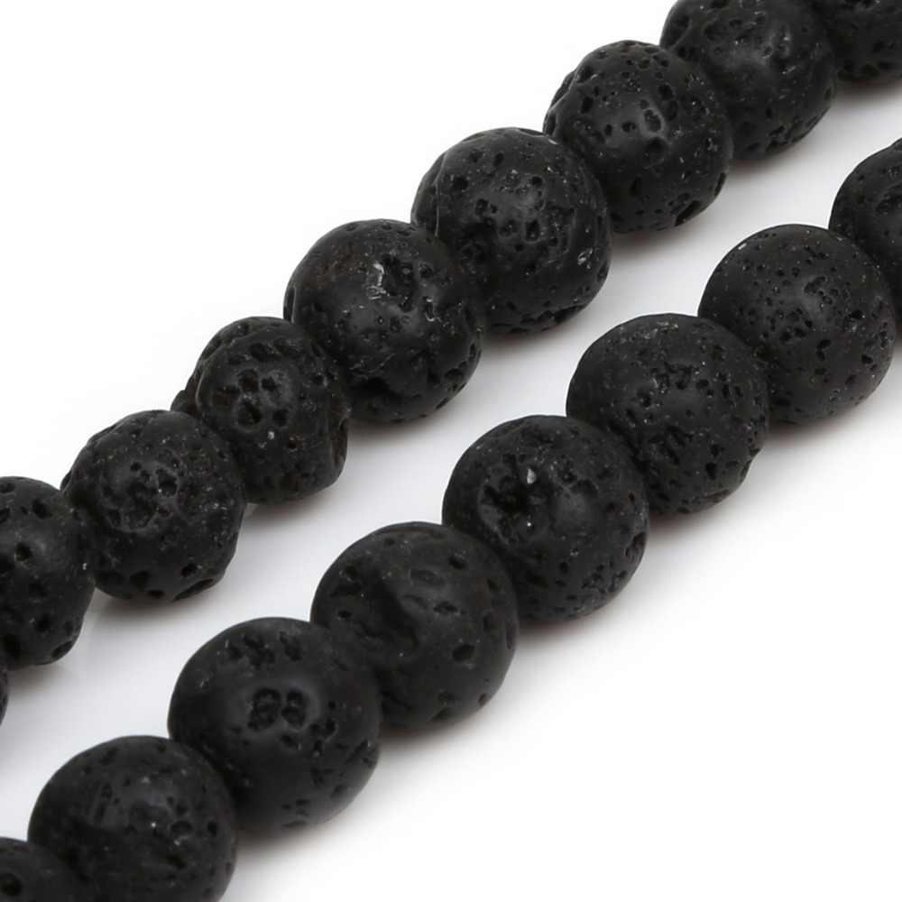 טבעי אבן חרוזים שחור לבה וולקני חרוזים 4 6 8 10 12mm העגול Loose Spacer חרוזים להכנת תכשיטים DIY צמיד שרשרת