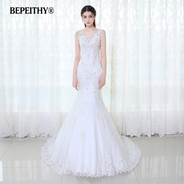 BEPEITHY V neck Mermaid Wedding Dress Low Back 2017 Vestido De Novia ...