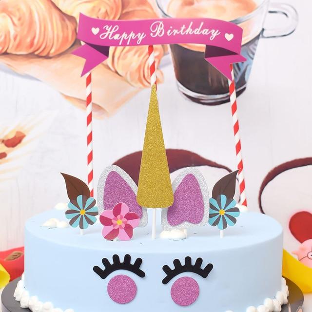 Handmade Pink Unicorn Party Cupcake Decoration Happy Birthday Party