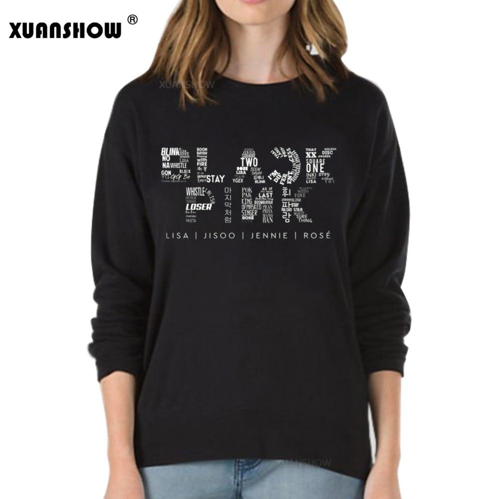 XUANSHOW nuevo Otoño Invierno mujer sudadera ropa Kpop negro Rosa Outwear hip-hop sudaderas Fleece manga larga Tops