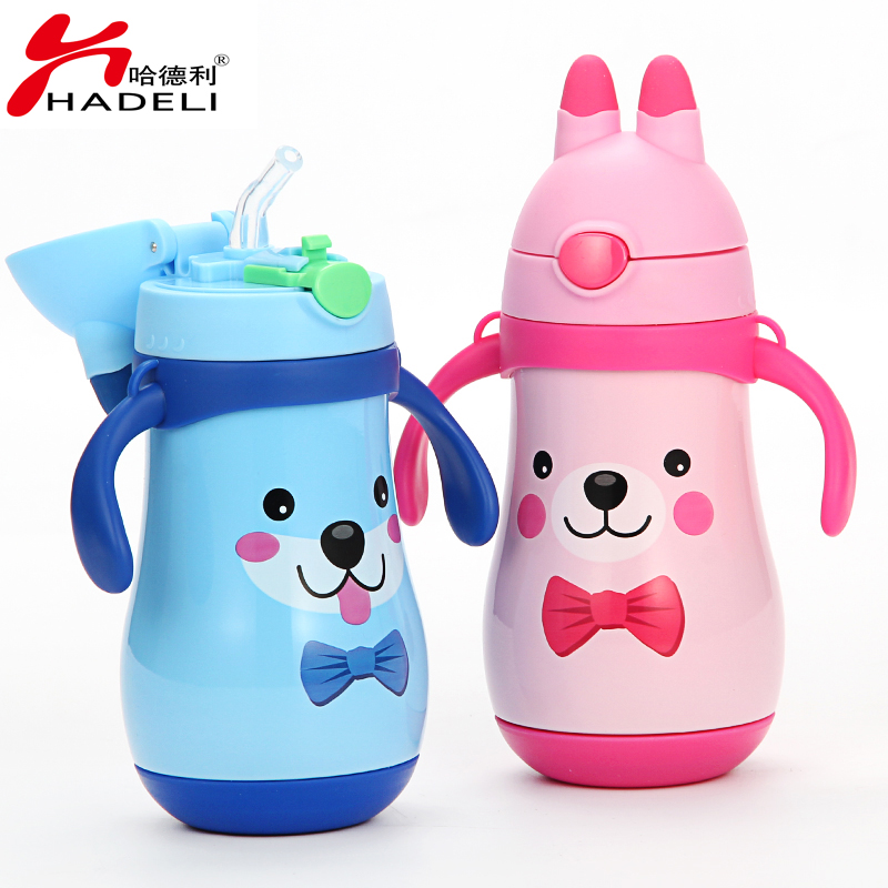 HADELI Children Thermos Water Bottle Stainless Steel Thermos Mug DrinkWare Outdoor Kid Water Bottle Cute Pattern Hot Sale