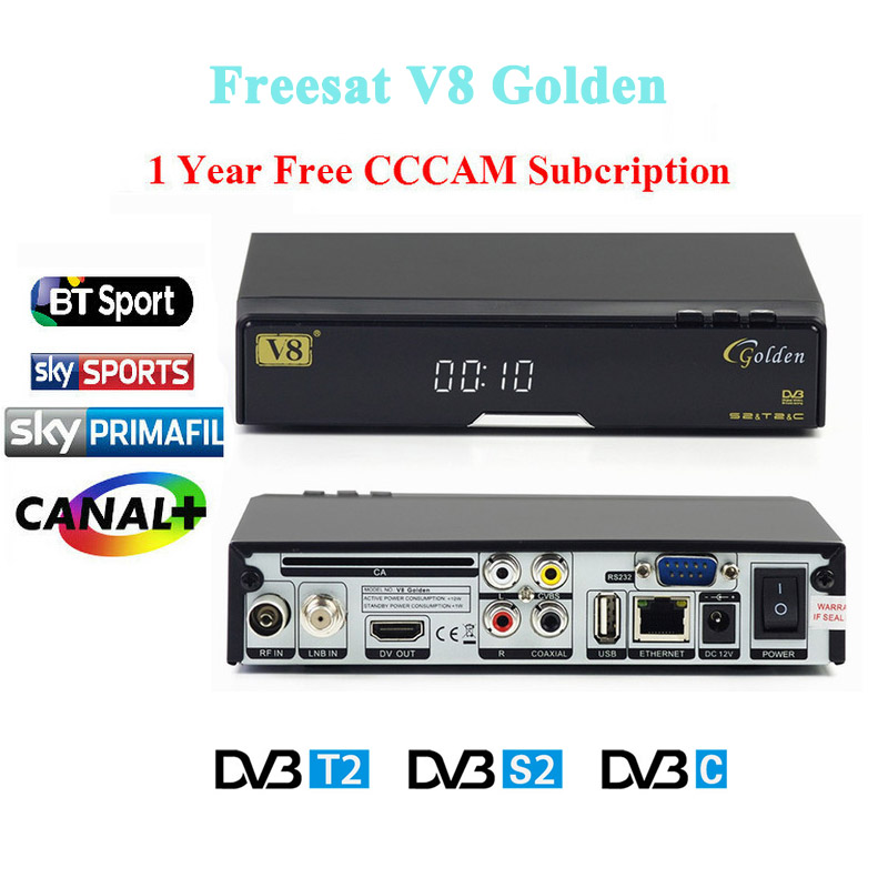 Best price V8 Golden DVB-S2/ DVB-T2 DVB-C free sat Satellite Receiver Decoder + 1 year Europe cccam cline USB WIFI set top box best v8 golden receptor satellite dvb t2 s2 c satellite receiver 1 year europe cccam cline support powervu biss key via usb wifi