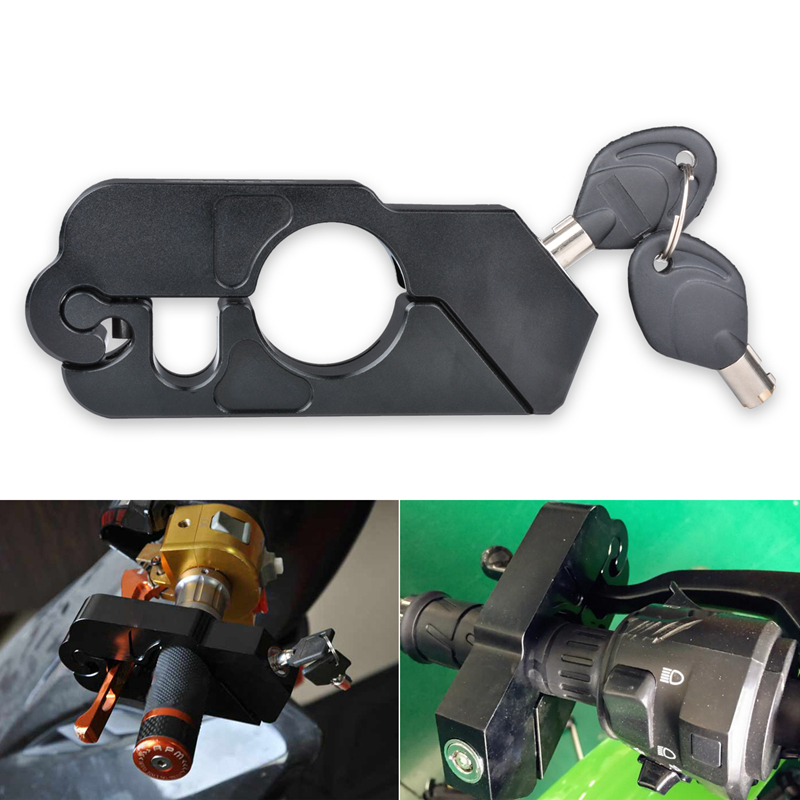 Motorcycle Grip Lock - Universal Aluminum CNC Motorcycle Handle Throttle Grip Security Lock With 2 Keys To Secure A Bike