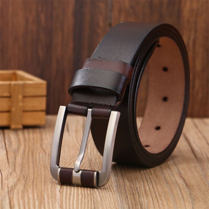 Mens Brown Real Nubuck Leather Cowboy Belt Western Dress Square Buckle