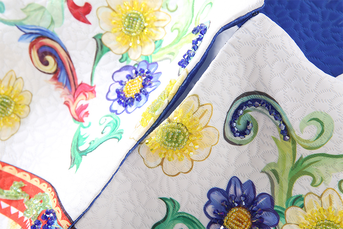 Bleu Overcoa Perles Manteaux Manteau Nouveau Vintage Floral 2018 Mode Qyfcioufu Imprimé Cristal Femmes Automne Survêtement Vestes wHZ1xq4