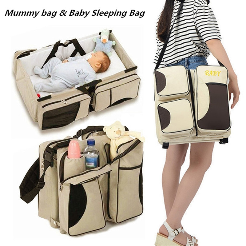 Portable Mommy Nappy Bags Travel Baby Sleeping Bag Large Capacity Multifunctional Mummy Bag Foldable Bed Set for Newborn Baby nappy large capacity mummy bag 5pcs set multifunctional fashion ducks prints baby travel shoulder bag handbag for pregnant women