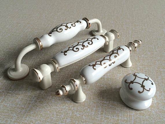 White Cream Dresser Knobs Pulls Drawer Pull Handles Ceramic Kitchen Cabinet Door Knobs Furniture Pull Porcelain Handle Hardware