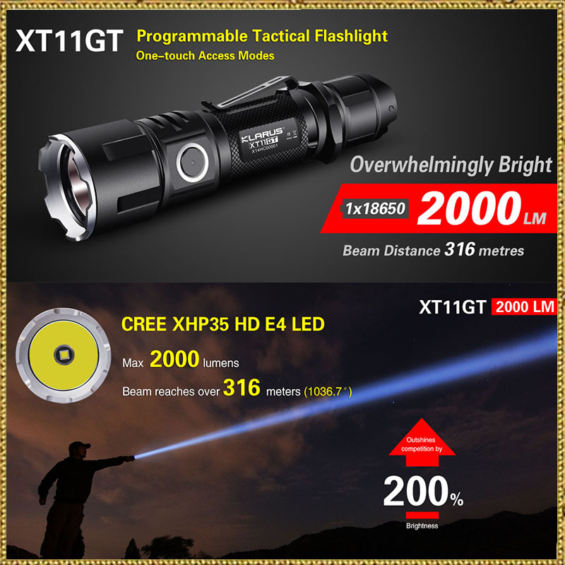 2016 KLARUS XT11GT Newest CREE XHP35 HD E4 LED 2000 Lumen  Tactical Flashlight  USB charging by 3100 mAh 18650 Li-ion batteries new klarus xt11gt cree xhp35 hi d4 led 2000 lm 4 mode tactical led flashlight free usb port and 18650 battey for self defence
