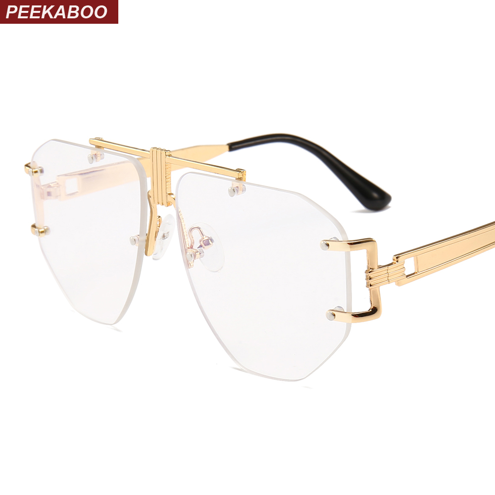 Peekaboo Gold Rimless Glasses Women Brand Designer Clear Lens 2019 Oversized Eyeglasses Frame Men Retro Metal