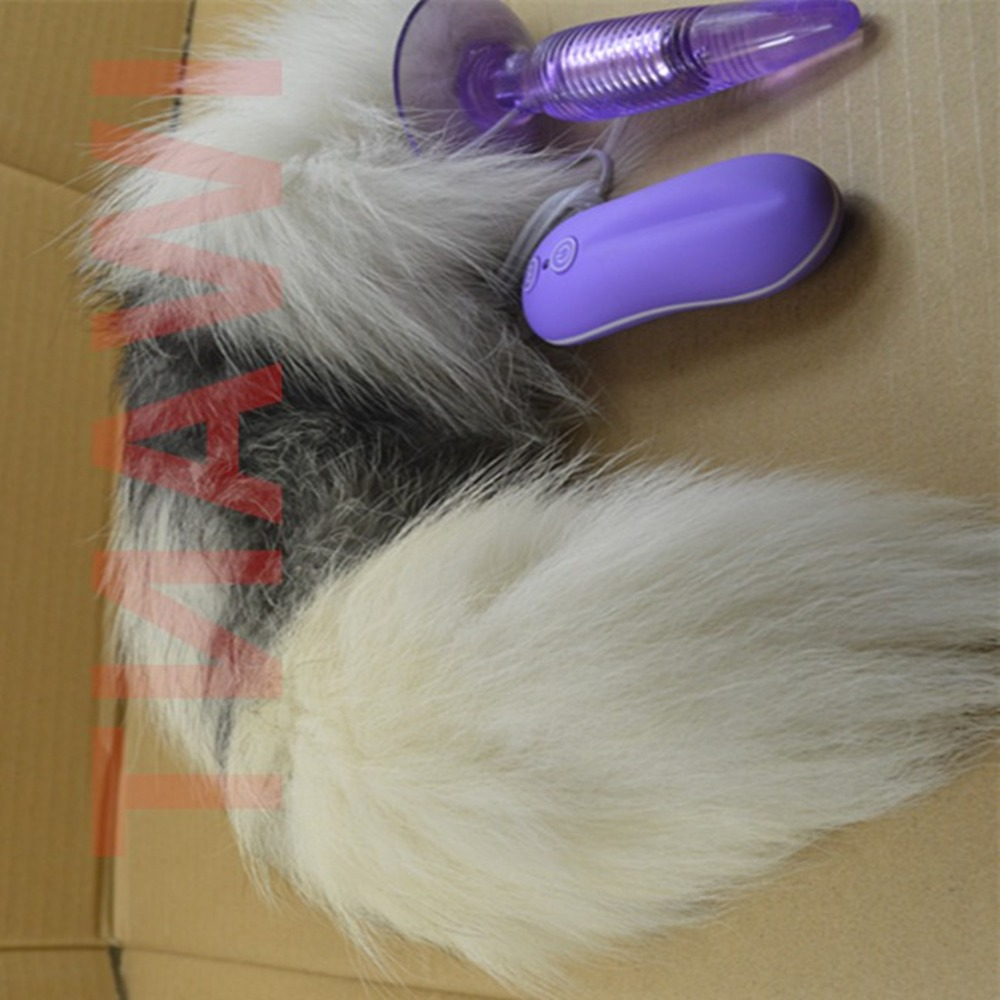 Super Big Fox Tail Anal Plug In Adult Games , 10 Speed Vibrating Anus Butt Plug , Erotic Sex Flirting Toys For Women hands free 12 speed male electric vibrating masturbator cup realistic pussy vagina masturbation cup sex toy360369