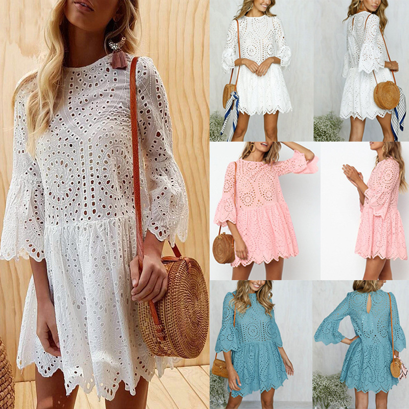 Fine Elegant White Crochet Lace Dress Women 2019 Summer 3/4 Sleeve Casual Tunic Dress Beach Loose Short Dress Vestidos As Effectively As A Fairy Does Dresses