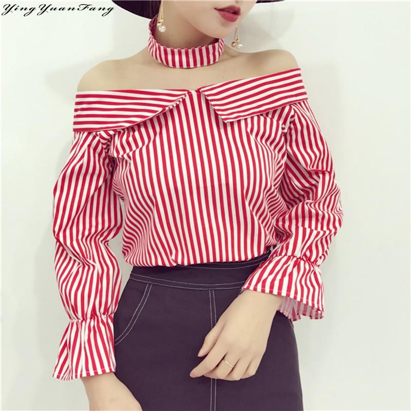YingYuanFang New fashion off-the-shoulder striped long flare sleeve  women's shirt