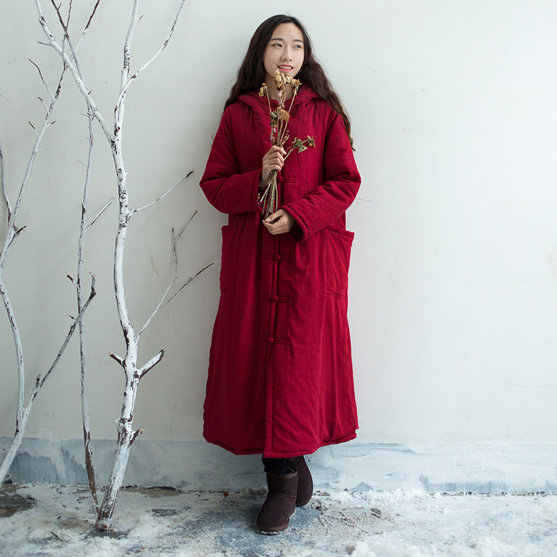 Women Cotton Linen Hooded Padded Coat hand-made Button Single breasted Long Overcoat Vintage Loose Solid Outwear