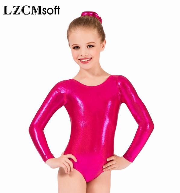 3cba109462c3 LZCMsoft Girls Long Sleeve Silver Leotards Shiny Metallic Gymnastics ...