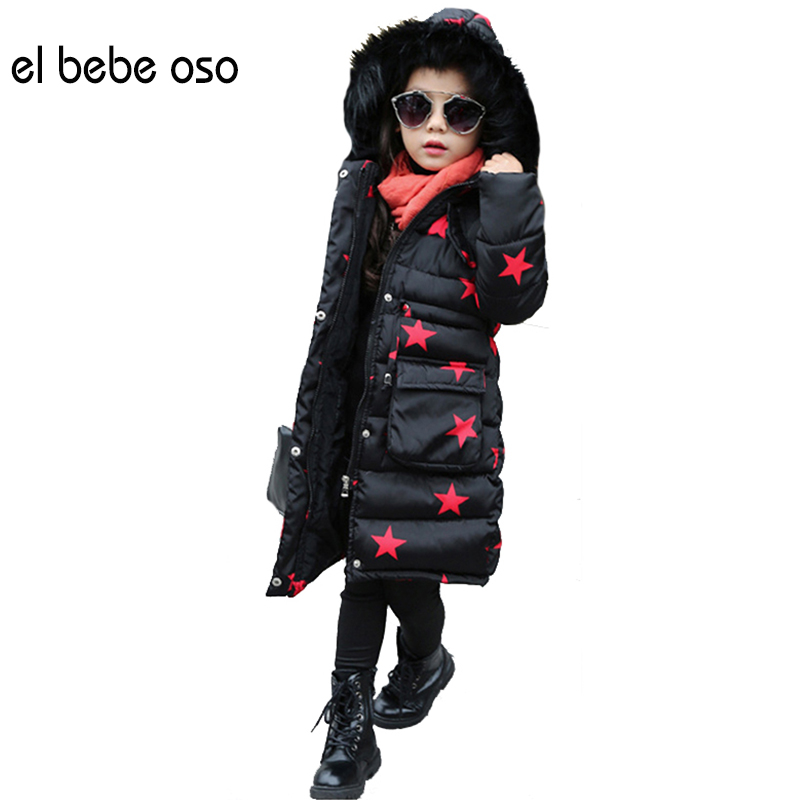 el bebe oso Girls Winter Long Geometric Coat Kids Cotton Padded Jacket Thicken Warm Winter Parkas Print Children Outerwear XL599 good quality children winter outerwear 2016 girls cotton padded jacket long style warm thickening kids outdoor snow proof coat