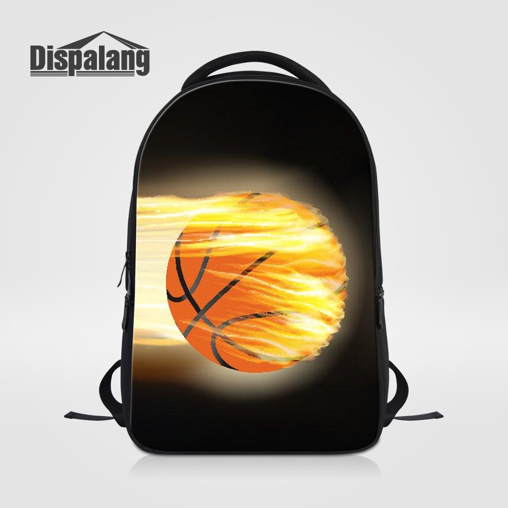 Dispalang Stylish Men Large Capacity Travel Laptop Backpack Basketballs Printed School Bag Pack For Boys Cool Mochila Male Bolsa