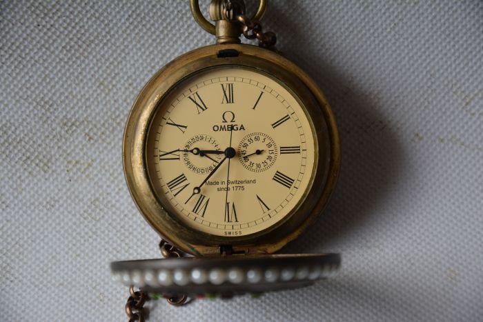 Rare ancienne dynastie Qing horloge en verre en laiton royal \ montre de poche mécanique, pierres incrustées, peut fonctionner, avec marque, livraison gratuite