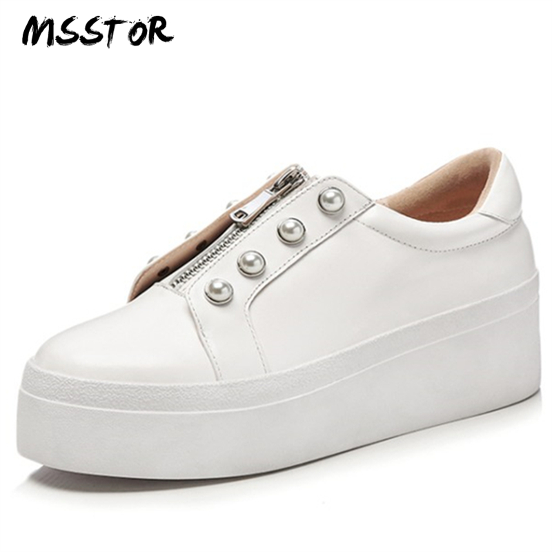 MSSTOR Zip String Bead White Shoes Black Round Toe Fashion Casual Genuine Leather Spring Ladies Shoes Sewing Platform Shoes asumer white spring autumn women shoes round toe ladies genuine leather flats shoes casual sneakers single shoes