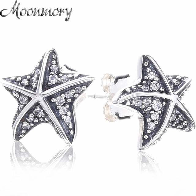 Moonnory 925 Sterling Silver Tropical Starfish Earring Studs With Clear Zircon For Woman Fashion Jewelry Making